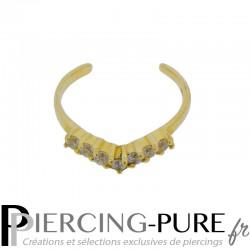 Bague de pied or jaune incrustée de zircons blancs