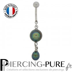 Piercing Nombril Perles de culture Prussian blue - 02