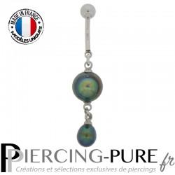 Piercing Nombril Perles de culture Prussian blue - 02