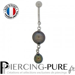 Piercing Nombril Perles de culture Prussian blue - 03