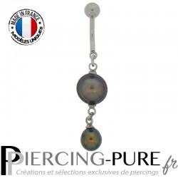 Piercing Nombril Perles de culture Prussian blue - 03