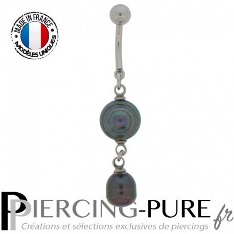 Piercing Nombril Perles de culture Prussian blue - 04