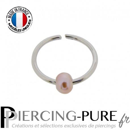 Piercing Nez Anneau pliable avec perle de culture rose