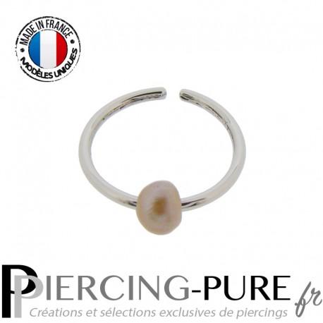 Piercing Nez Anneau pliable avec perle de culture rosée