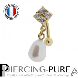 Piercing Nombril Inversé Or 14 carats avec perle naturelle