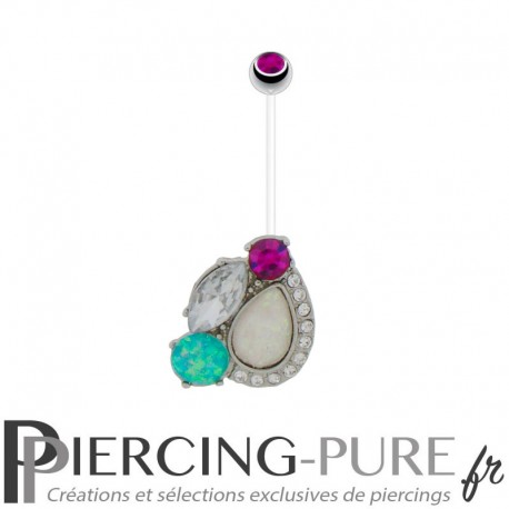 Piercing Nombril Grossesse Flexible cristaux et opales