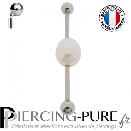 Piercing Industriel Oreille perle naturelle de culture