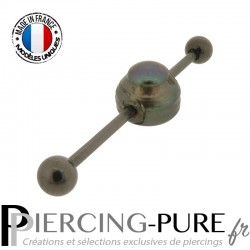 Piercing Industriel Blackline perle naturelle de culture Prussian blue