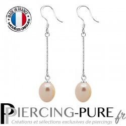 Boucles d'Oreilles Perles roses naturelles pendantes - La paire