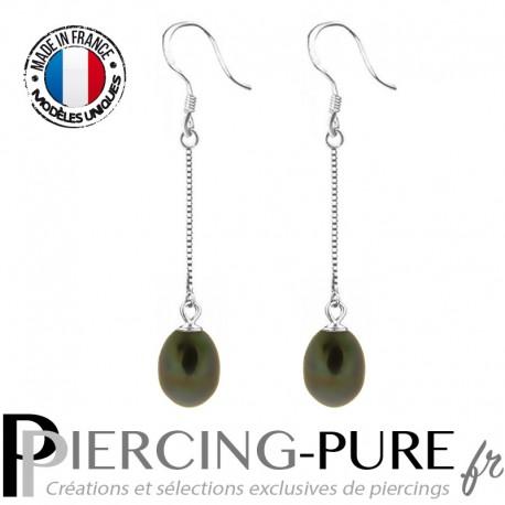 Boucles d'Oreilles Perles noires naturelles pendantes - La paire