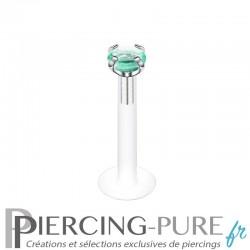 Piercing Labret Bioflex pierre verte