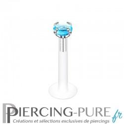 Piercing Labret Bioflex pierre bleue