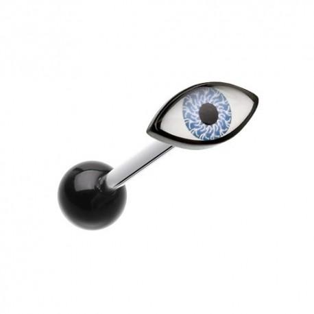 Piercing Langue Titane oeil bleu