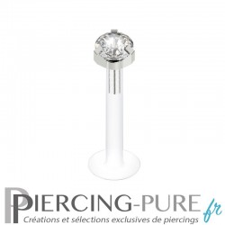 Piercing Labret Flexible Cristal griffé blanc 3mm