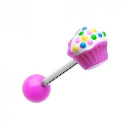 Piercing Langue Titane cupcake violet