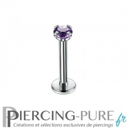Piercing Labret cristal violet griffé 2mm