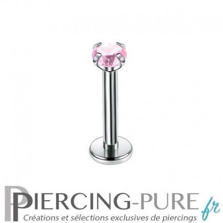 Piercing Labret cristal rose griffé 2mm