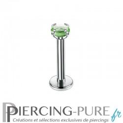Piercing Labret cristal vert griffé 2mm