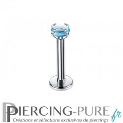 Piercing Labret cristal bleu griffé 2mm
