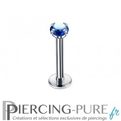 Piercing Labret cristal bleu nuit griffé 2mm