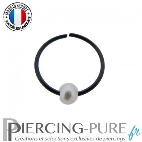 Piercing Nez Anneau pliable blackline avec perle de culture blanche