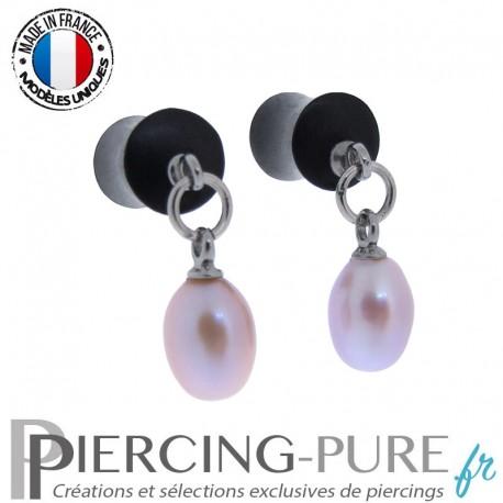 Paire de Plug Bois 6,5mm Perles naturelles pendantes roses