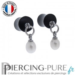 Paire de Plug Bois 6,5mm Perles naturelles pendantes blanches