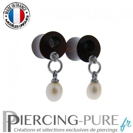 Paire de Plug Bois 8mm Perles naturelles pendantes blanches