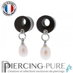 Paire de Plug Bois 10mm troué Perles naturelles pendantes roses