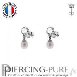 Boucles d'Oreilles Perles blanches naturelles cristaux blancs - La paire