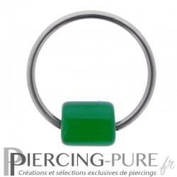 Anneau Acier 1,6x20mm et cylindre de Verre vert