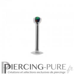 Piercing Labret cristal blanc griffé 2mm
