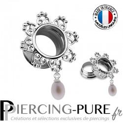 Paire Tunnel Oreille Acier couronne coeur pendentif perle de culture 12mm