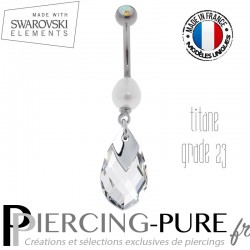 Piercing Nombril Titane Crystal Light Chrome et perle naturelle