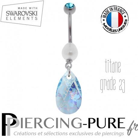 Piercing Nombril Titane Aquamarine White Patina et perle naturelle
