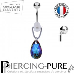 Piercing Nombril Swarovski Elements Poire Meridian Blue et perle de culture
