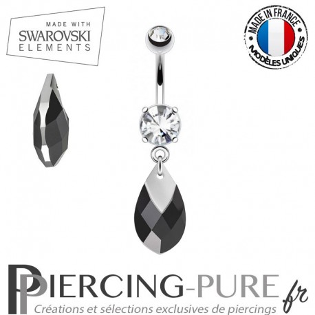 Piercing Nombril Swarovski Elements Jet Light Chrome