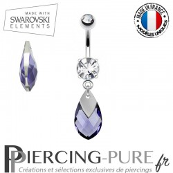 Piercing Nombril Swarovski Elements Tanzanite Light Chrome