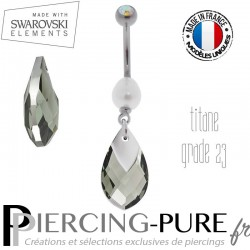 Piercing Nombril Titane Black Diamond Light Chrome et perle naturelle
