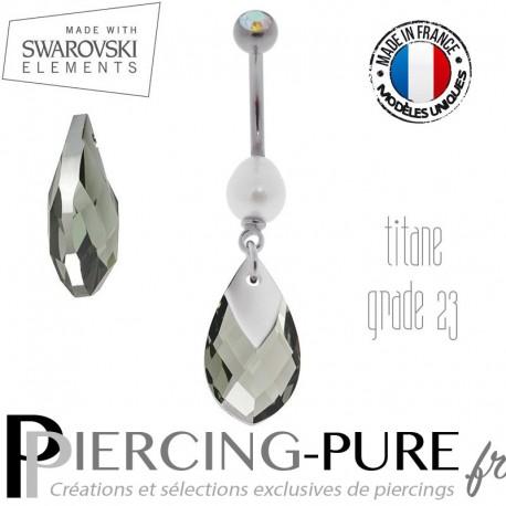 Piercing Nombril Titane Black Diamond Light Chrome et perle naturelle