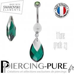 Piercing Nombril Titane Emerald Light Chrome et perle naturelle