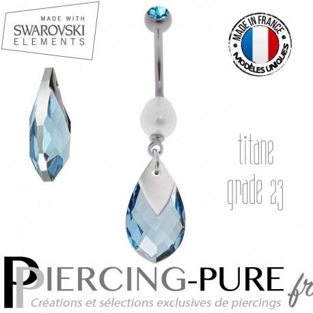 Piercing Nombril Titane Aquamarine Light Chrome et perle naturelle