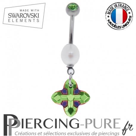 Piercing Nombril Titane Swarovski Cross Tribe Peridot Scarabaeus Green et perle naturelle