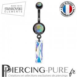 Piercing Nombril Blackline Queen Baguette Swarovski Elements Crystal AB