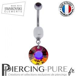 Piercing Nombril Soleil Swarovski Volcano Bermuda blue et perle