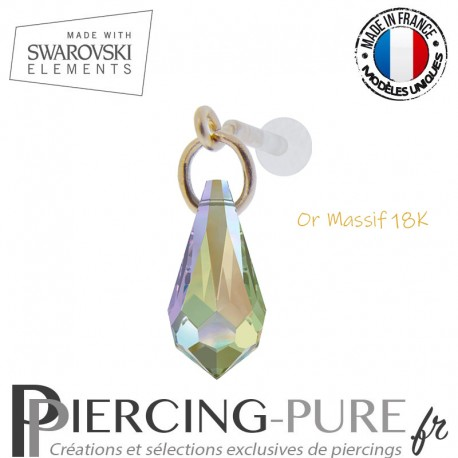 Piercing oreille or massif et Swarovski element goutte Crystal Paradise Shine