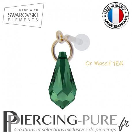 Piercing oreille or massif et Swarovski element goutte Emerald