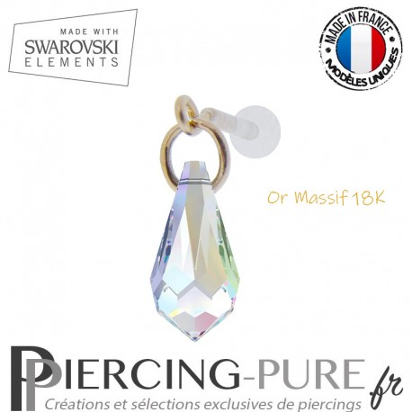 Piercing oreille or massif et Swarovski element goutte Crystal AB
