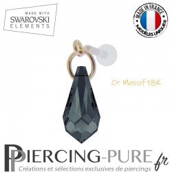 Piercing oreille or massif et Swarovski element goutte Graphite