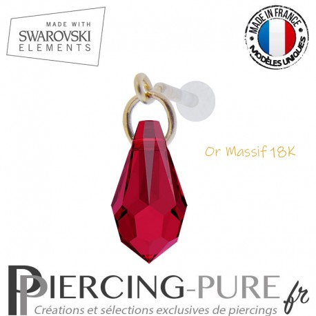 Piercing oreille or massif et Swarovski element goutte Scarlet